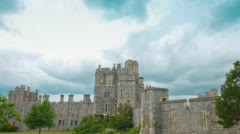 Establishing shot of Windsor Castle UK Stock Footage