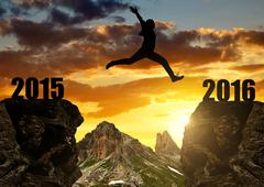 Girl jumps to the New Year 2016  Stock Photos