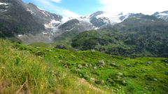 Swiss Alps Glacier. Switzerland Mountains Scenery. Europe Stock Footage