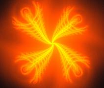 Abstract fiery ornament on black background - stock photo
