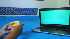 Green screen monitor and playing  card 2 Stock Footage