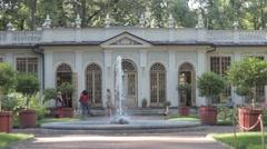 Summer garden cafe Red garden fountain tour, photographing Stock Footage