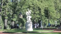 """Sculptural group """"The Rape of Sabine women"""" Summer Garden Stock Footage"""