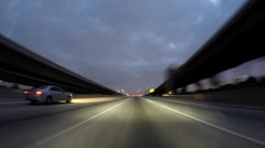 Harbor and Pasadena 110 Freeway  Dawn Driving Time Lapse Los Angeles Stock Footage