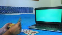 Green screen monitor and playing  card Stock Footage