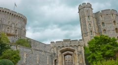 Stone ancient Windsor Castle. Famous touristic attraction Stock Footage