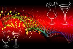 Set of alcoholic cocktails illustration - stock illustration
