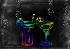 Stock Illustration of Set of alcoholic cocktails illustration