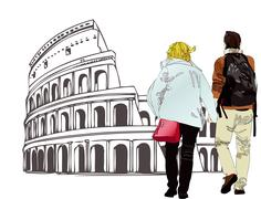 An engaged couple in Rome - Italy - stock illustration