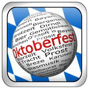 Oktoberfest wordcloud button - in german - stock photo