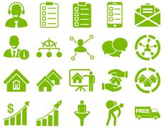 Business, sales, real estate icon set - stock photo