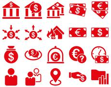 Bank service and trade business icon set - stock photo