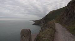 Coastal Path on Ireland Coast Stock Footage