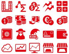 Accounting service and trade business icon set - stock photo