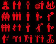 Management and people occupation icon set - stock photo