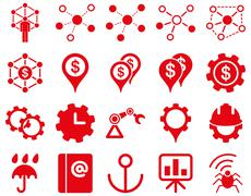 Business links and industry icon set Stock Photos