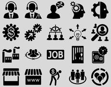 Business, service, management icons - stock photo