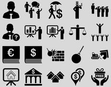 Bank service and people occupation icon set - stock photo