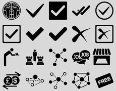 Agreement and trade links icon set - stock photo