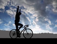 Silhouette of the cyclist riding a road bike Stock Photos