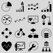 Dotted raster infographic business icons Stock Photos