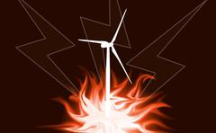 Wind power, fire, lightning as background ilustration - stock photo