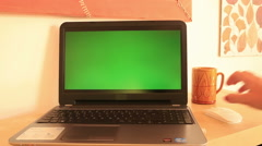 Laptop with green screen 10 Stock Footage
