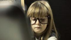 Little girl school face covered Stock Footage