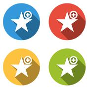 Collection of 4 isolated flat buttons for add to favorites Stock Illustration