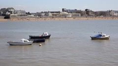 Weston-super-mare Somerset boats pier and beach in summer PAN Stock Footage