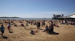 UK beach Weston-super-mare Somerset PAN Stock Footage