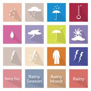 Illustration Set of 16 Rainy Season Flat Icon - stock illustration