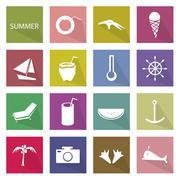 Illustration Set of 16 Summer Season Icon Stock Illustration
