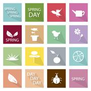 Stock Illustration of Illustration Set of 16 Spring Season Icon