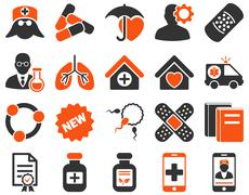 Medical bicolor icons - stock photo