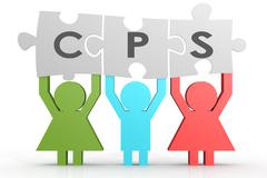 CPS - Cost per Sale puzzle in a line Stock Illustration