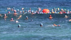 Salmini 10011-080815 - Start of ocean swim race Hawaii Stock Footage
