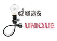 ideas unique phrase and light bulb, hand writing Big Idea - stock photo