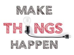 make things happen phrase and light bulb, hand writing, achieve - stock photo