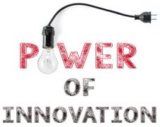 power of innovation phrase and light bulb, hand writing, idea Creativity - stock photo