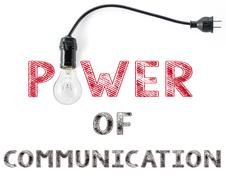 Power of communication phrase and light bulb, hand writing business  Internet Stock Photos