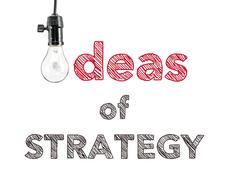 ideas of strategy phrase and light bulb, hand writing, Marketing Business - stock photo