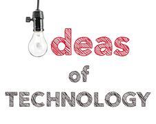 Ideas of technology phrase and light bulb, hand writing Stock Photos