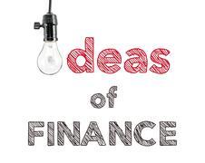 Ideas of finance phrase and light bulb, hand writing Stock Photos