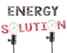 Energy solution phrase and light bulb, Energy saving Stock Photos