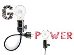 go power  phrase and light bulb, hand writing,electricity, energy - stock photo