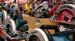 One side of display electric saws Stock Footage
