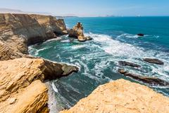Cathedral Rock Formation, Paracas National Reserve in Peru - stock photo