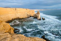 Cathedral Rock Formation, Peruvian Coastline, Rock formations at the coast, P - stock photo