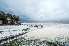 Annual spring storm and hurricane in Uruguay. Province of Maldonado, Piriapol Stock Photos
